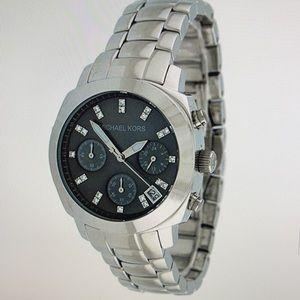 Michael Kors Women's Silver Tone Chronograph Bracelet Watch for sale!
